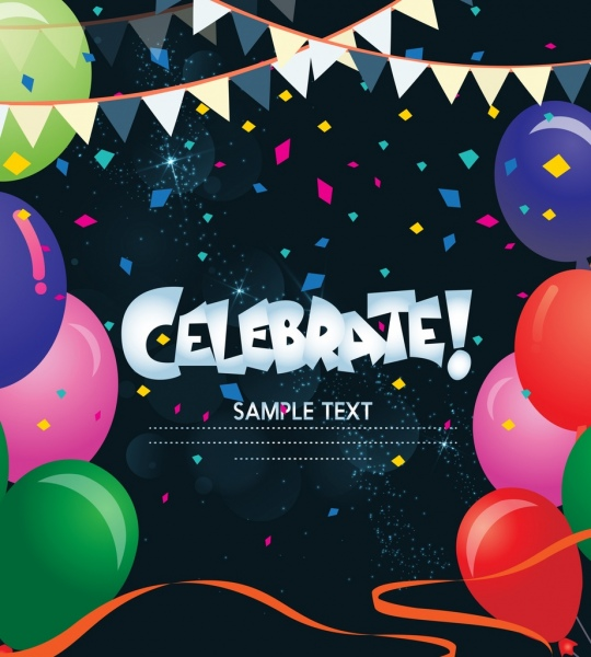 celebration banner colorful balloon ribbon decoration dark backdrop