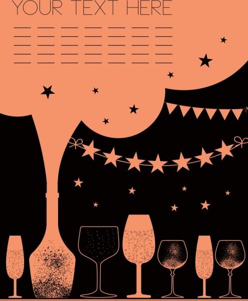 celebration banner template retro style wine glasses decor