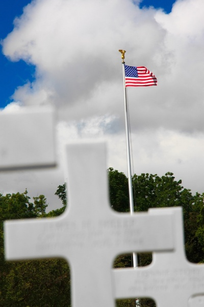 cemetery and flag