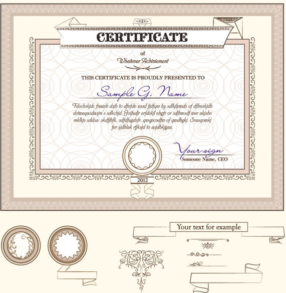 Certificate Template And Decoration Borders Design Vector Free