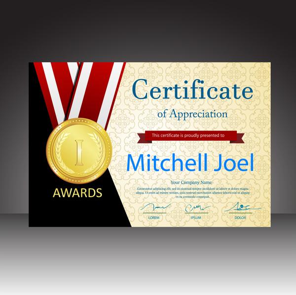 certificates vector design with gold medal illustration