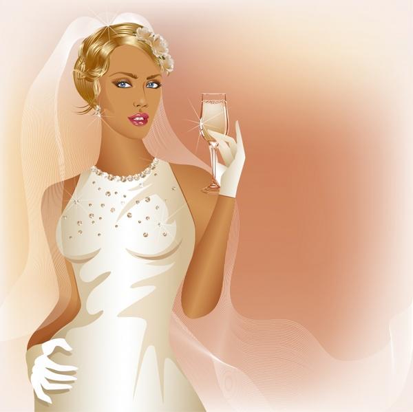 charm bride wedding vector