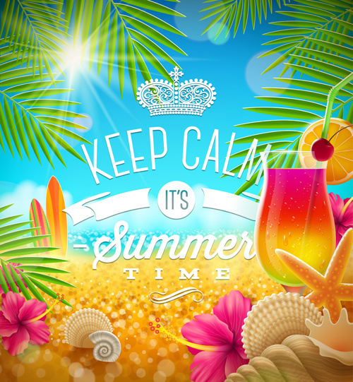 charming summer party poster template vectors free vector in