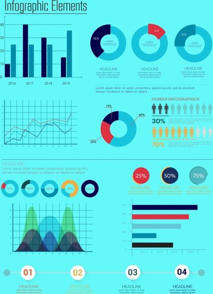 charts design elements bar round line design
