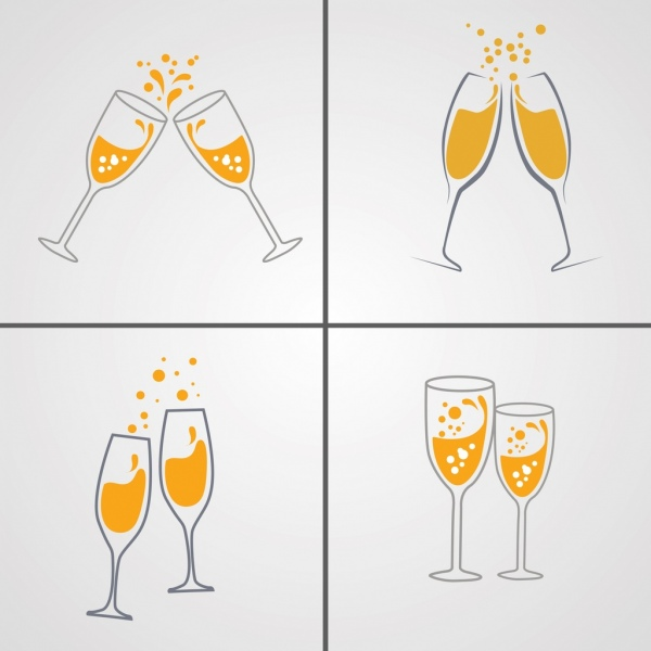 cheering wine glasses background sets cartoon icons sketch