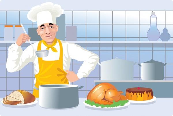 chef job background man kitchen utensils cartoon design