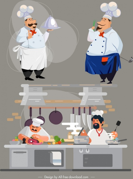 chef career icons cartoon characters sketch