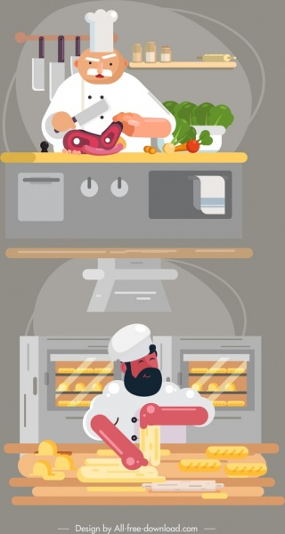 chef work icons meat bread preparation cartoon characters