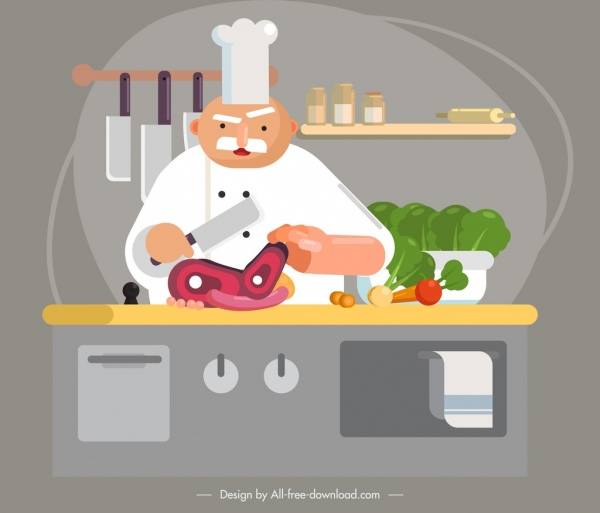 chef work painting colored cartoon sketch