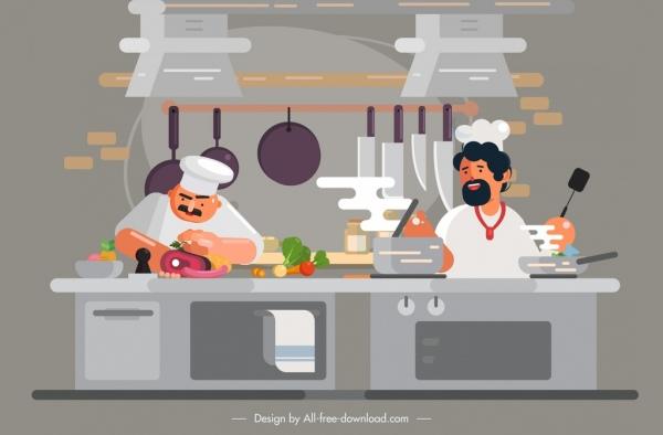 chef work painting kitchen utilities uniform men decor
