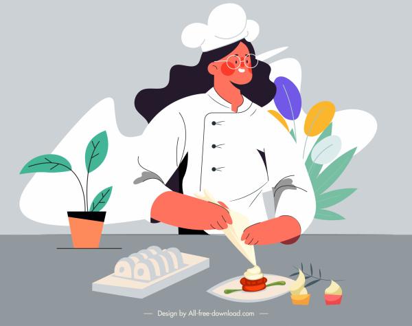chef work painting woman preparing food cartoon sketch