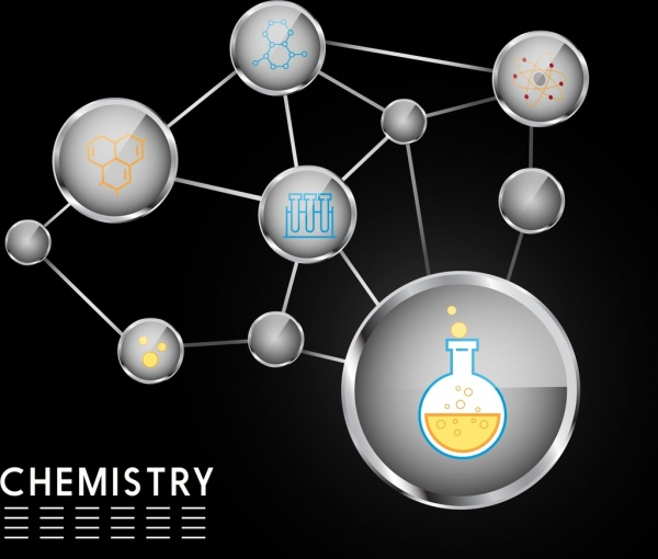 chemistry background circle connection decoration molecule icons