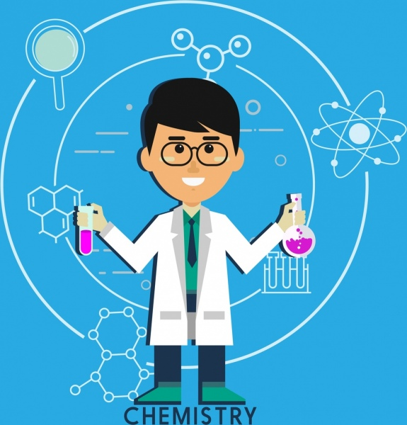 Chemistry Background Scientist Icon Molecule Symbols Decor Free