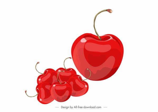 cherries fruit icons shiny modern red design