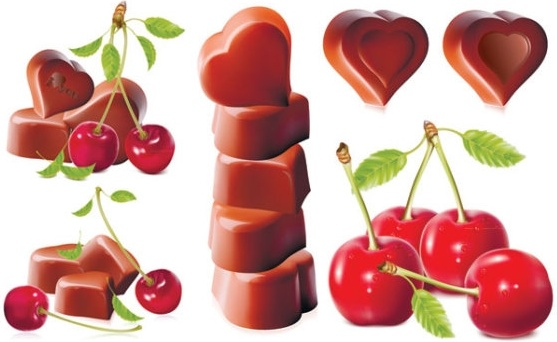 cherry and chocolate heartshaped vector