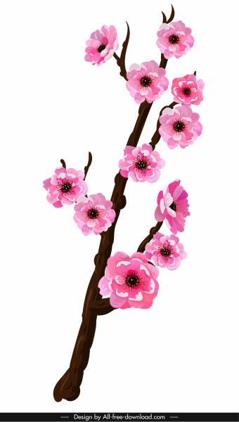 cherry blossom icon bright colored classical oriental sketch