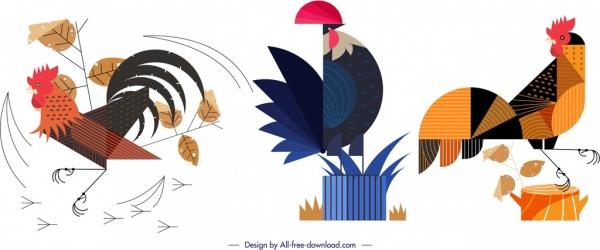 chicken animal icons colorful flat geometric design