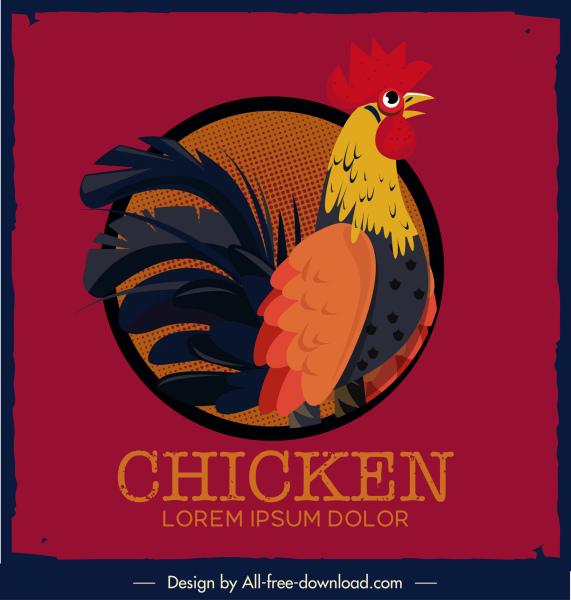chicken background colorful retro design