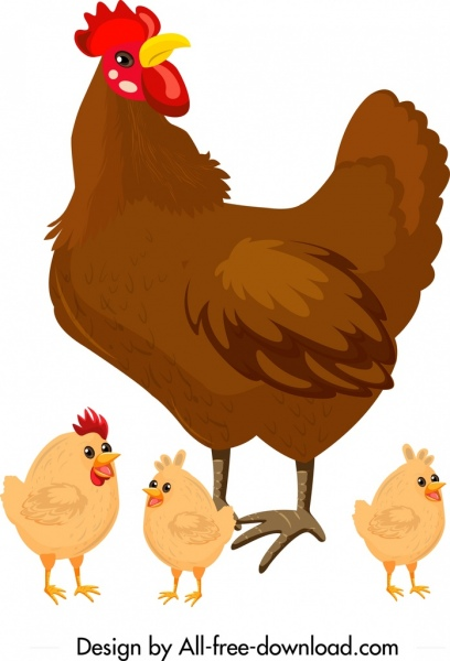 chicken family painting hen chicks icons colored cartoon