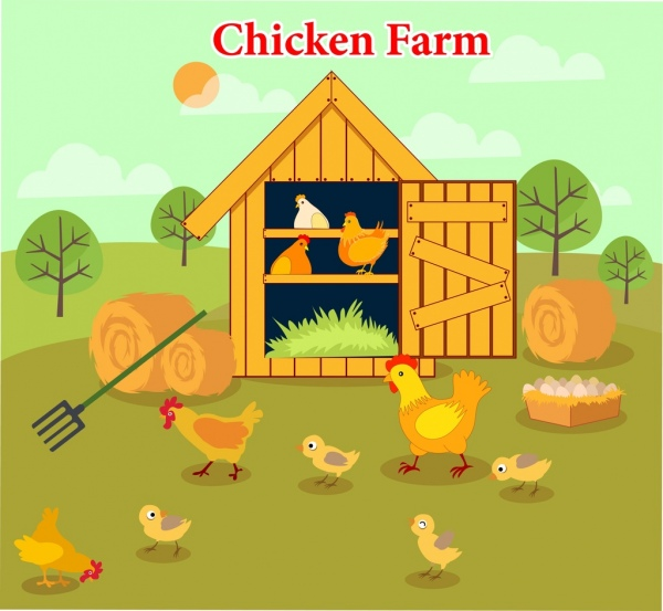 chicken farm drawing hen chick icons multicolored design