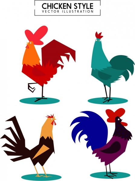 chicken icons collection various multicolored design