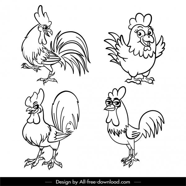 chicken icons funny sketch black white handdrawn design