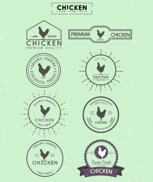 chicken logotypes flat icon silhouette design