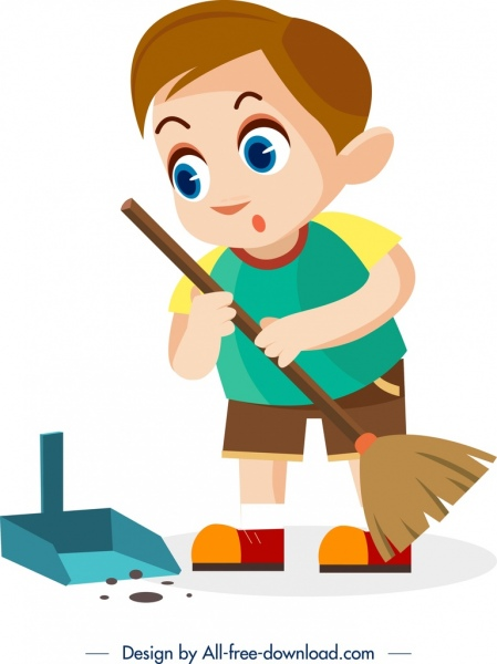 childhood background cleaning boy icon cartoon character