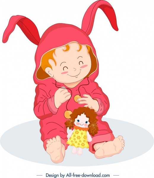 childhood background cute baby icon cartoon character