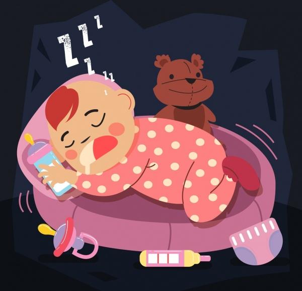 childhood background cute sleeping baby icon cartoon design