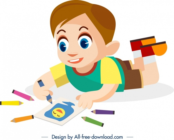 childhood background drawing boy icon cartoon character design