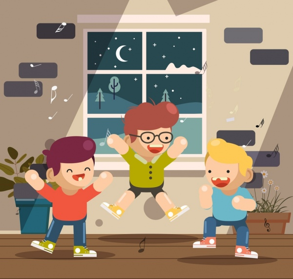 childhood background excited boys icons cartoon characters