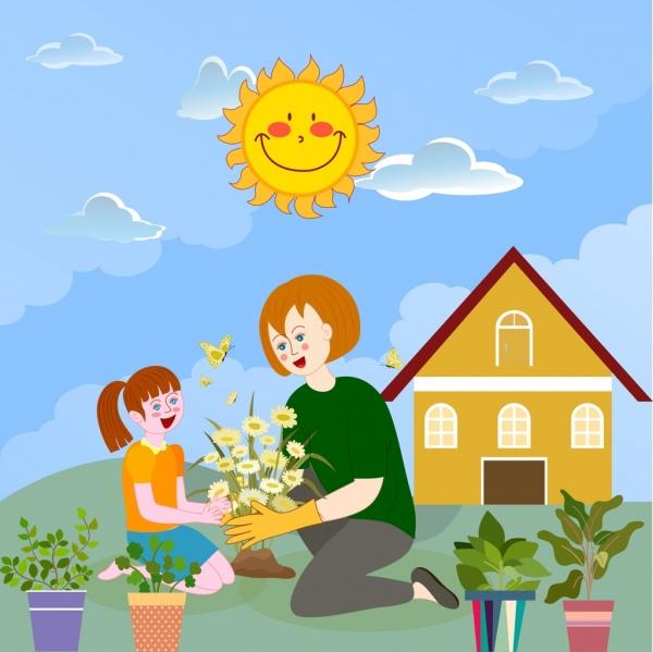 Childhood Background Garden Work Theme Cartoon Design Free Vector In Adobe Illustrator Ai Ai Format Encapsulated Postscript Eps Eps Format Format For Free Download 3 75mb