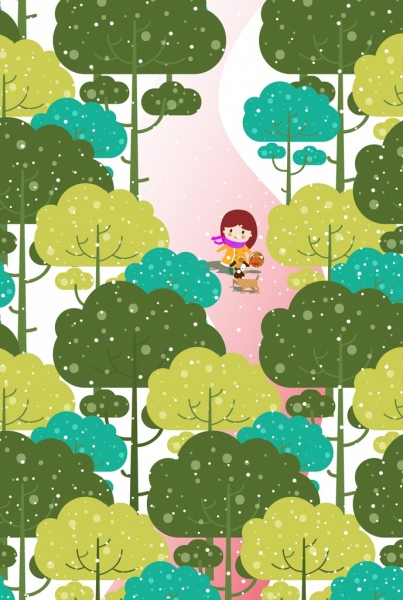 childhood background girl dog trees icons colored cartoon