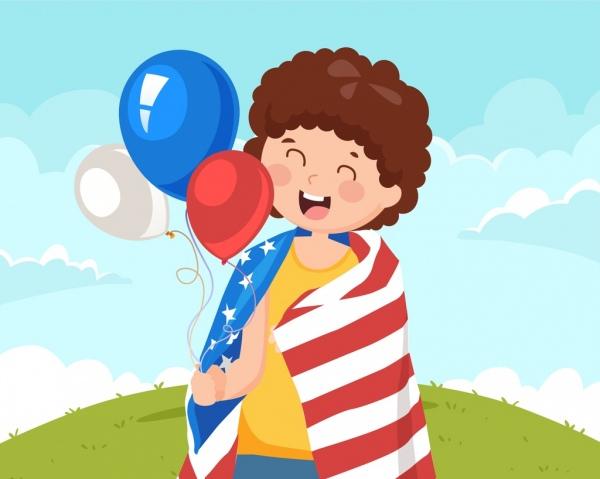 childhood background joyful kid balloon usa flag icons
