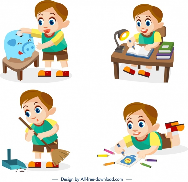 childhood background sets daily work themes cartoon design