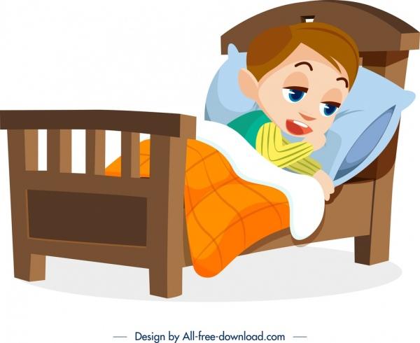 childhood background sick boy icon cartoon design
