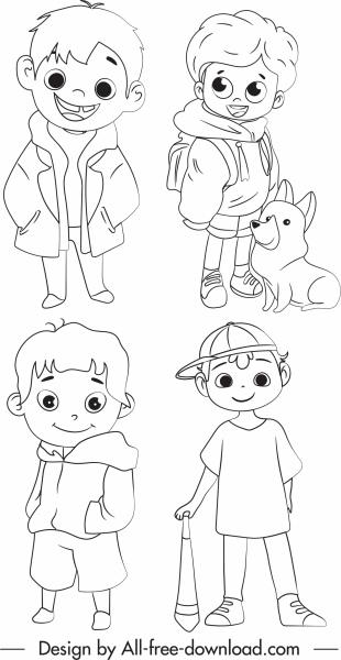 childhood design elements cute boys handdrawn cartoon character
