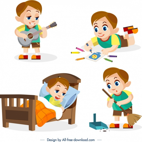childhood design elements daily activities boy icons design
