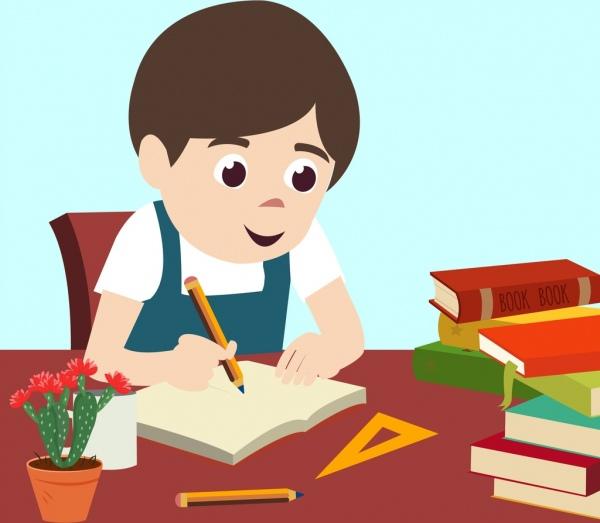 childhood drawing boy writing colored cartoon design