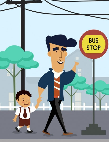 childhood drawing father son bus station colored cartoon