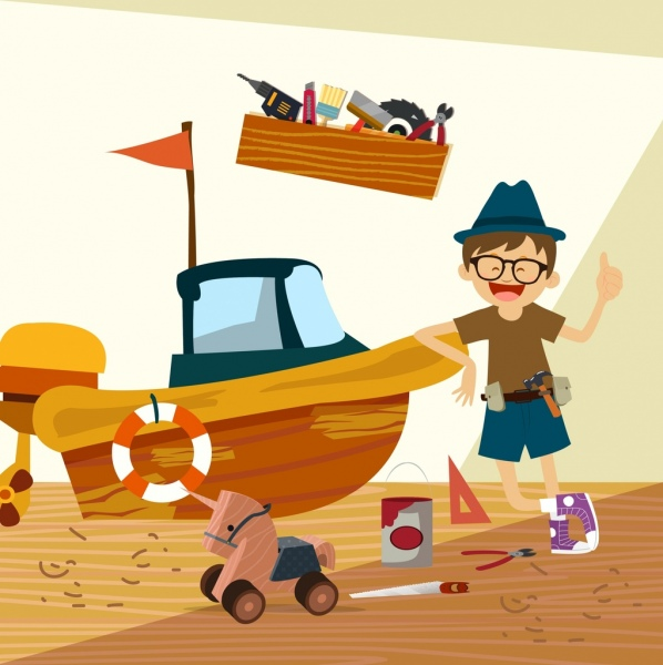 Boy Toys Drawing : Kids toys free vector download for