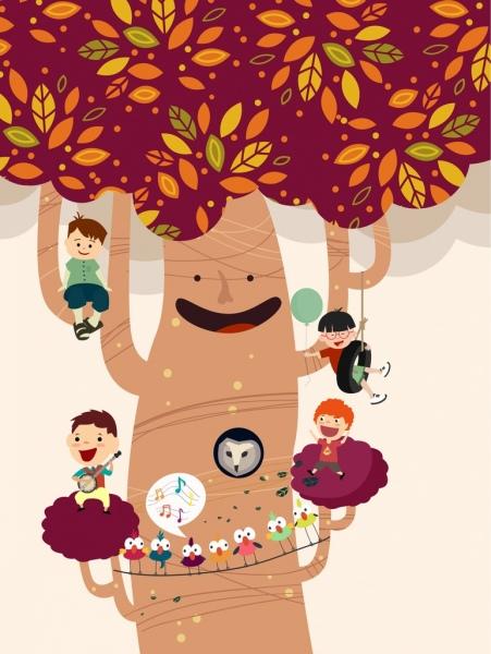 childhood dream background stylized tree kids icons decoration