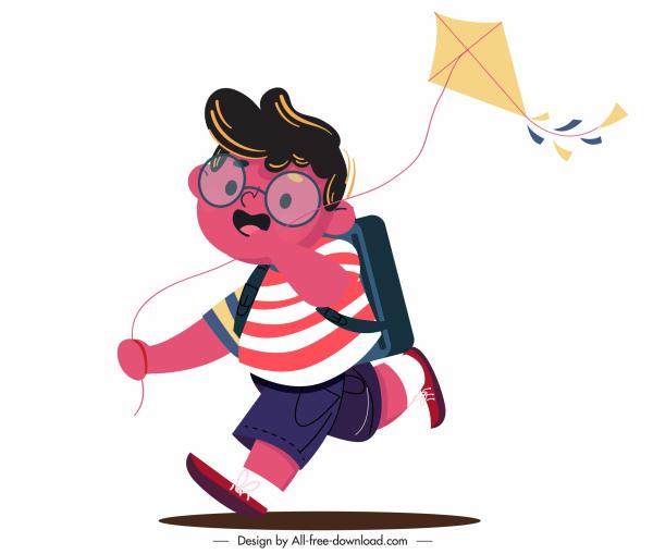childhood icon boy playing kite icon cartoon character