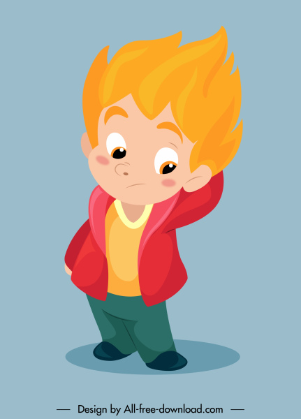 childhood icon cute boy sketch cartoon character