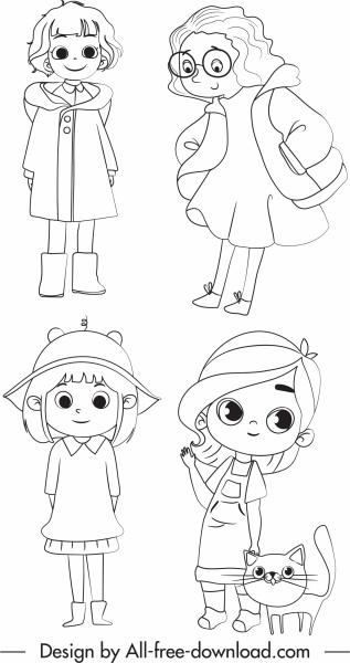 childhood icons cute girls sketch handdrawn cartoon