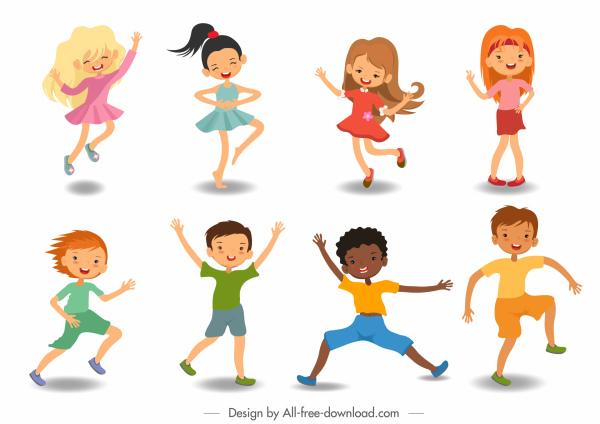 childhood icons cute joyful boys girls sketch