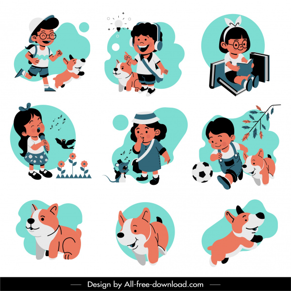 childhood icons cute kids puppies sketch cartoon design