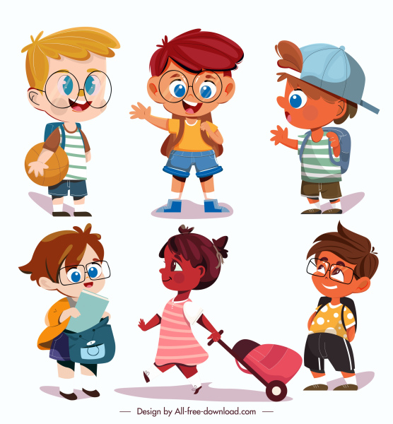 childhood icons cute kids sketch cartoon characters