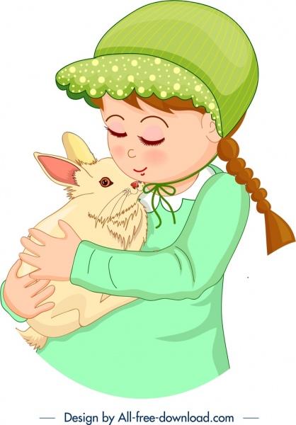 childhood painting cute girl rabbit pet cartoon design